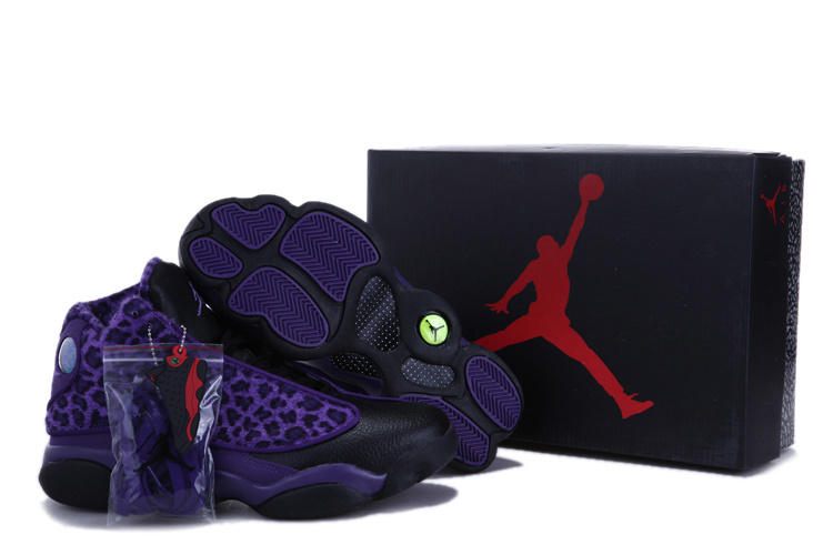 New Air Jordan 13 Leopard Print Black Purple Shoes