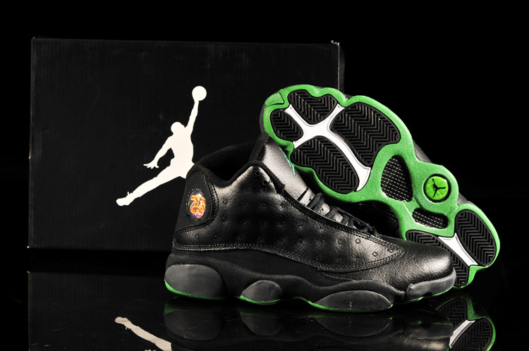 2013 Air Jordan 13 Black Green Shoes