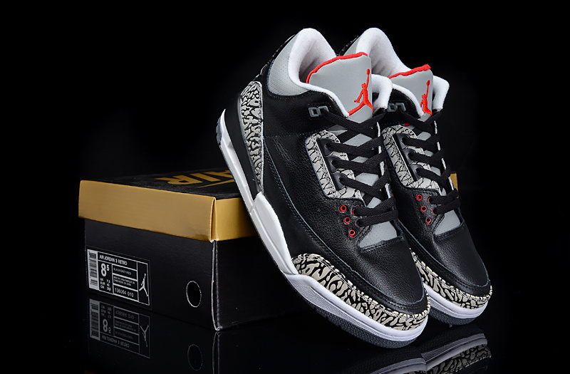 New Arrival Air Jordan 3 Black Grey Cement Shoes