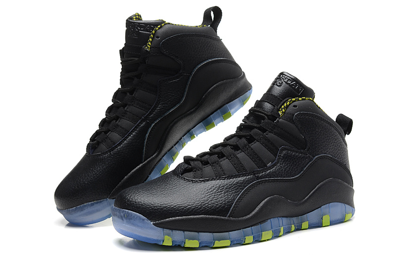 sneakers for cheap c3ad7 ccf32 2014 New Jordan 10 Retro Transparent Sole All Black Yellow ...