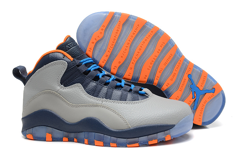 2014 New Jordan 10 Retro Transparent Sole RGrey Blue Orange Shoes