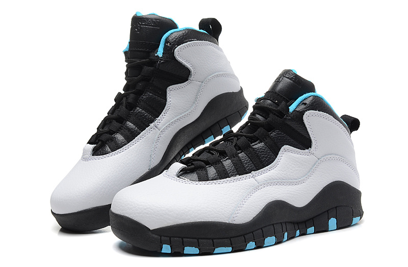 2014 New Jordan 10 Retro Transparent Sole White Black Blue Shoes