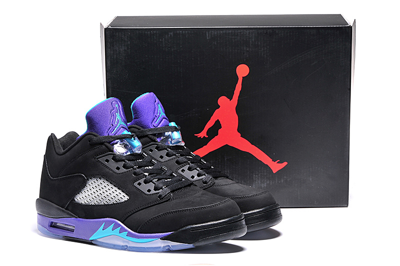 2015 Ai Jordan 5 Retro Low Black Purple Shoes