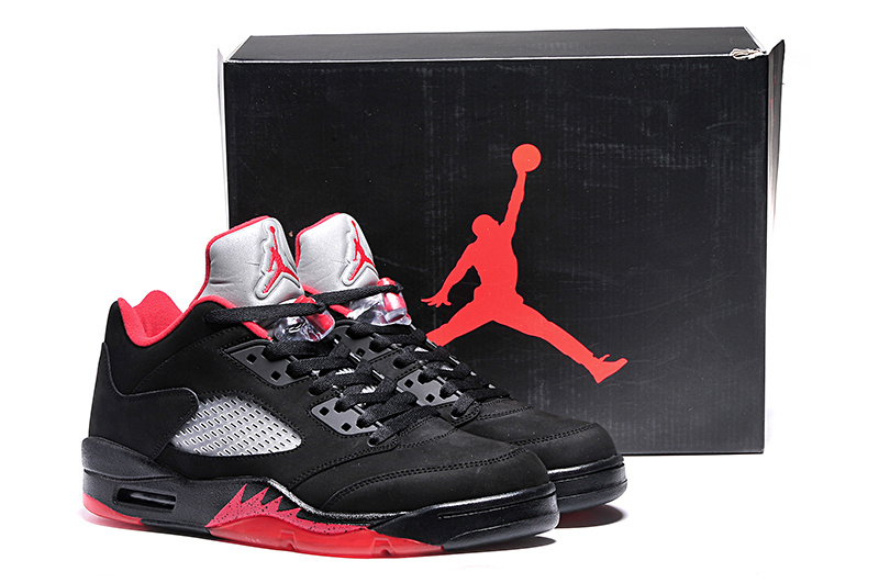 2015 Ai Jordan 5 Retro Low Black Red Shoes