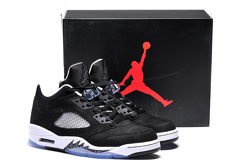 2015 Ai Jordan 5 Retro Low Oreo Black White Shoes