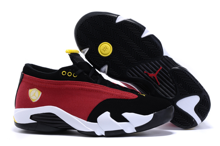 2015 Air Jordan 14 Low Red Black White Yellow Shoes