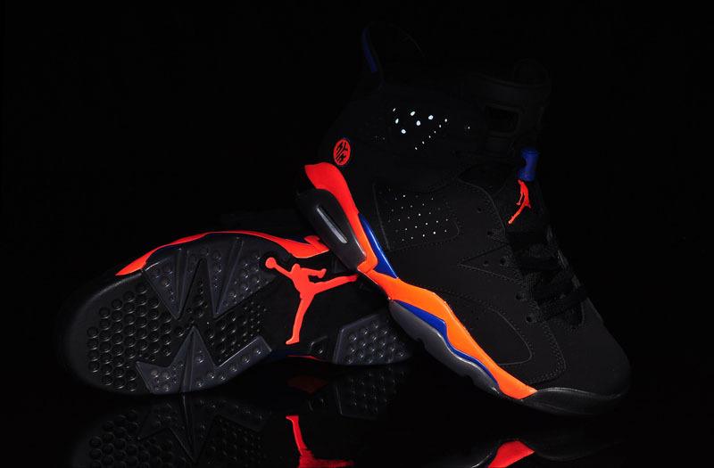 8355d1573a2511 2015 Air Jordan 6 Knicks World Cup Black Orange Blue Womens Shoes ...