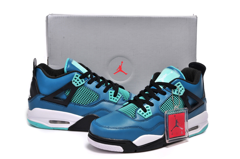 2015 Jordan 4 Retro Black Jade Blue Shoes