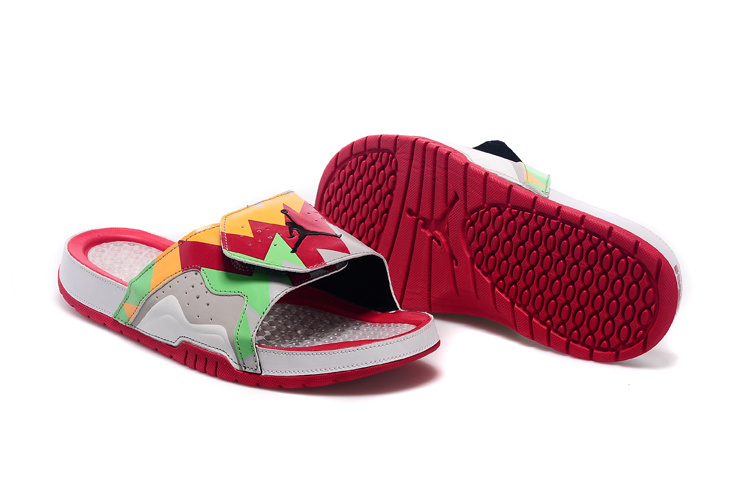 2015 Jordan 7 Hydro Red Orange Green Grey Sandal
