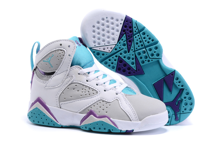 2015 Kids Air Jordan 7 Retro White Grey