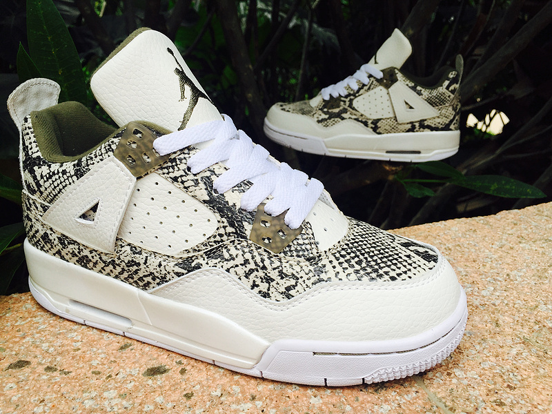 lowest price 053b7 9c36c ... where to buy 2015 air jordan 4 snakeskin white army green shoes 0ffea  65460