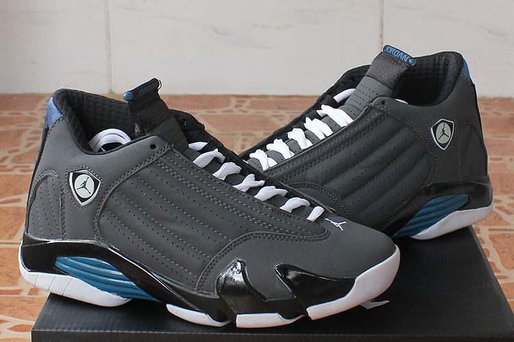 2015 Original Jordan 14 Black Grey Blue Shoes