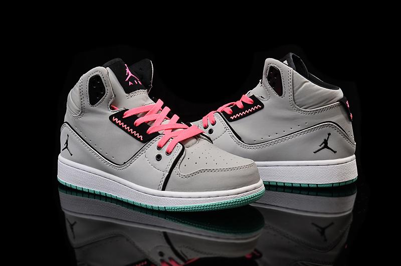 2015 Women Air Jordan 1 Flight 2 Grey Pink Black Shoes 566e7c32d8