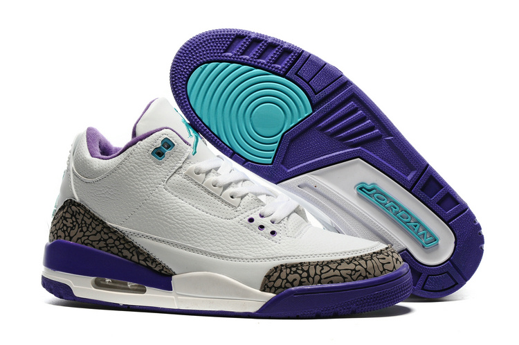 2016 Air Jordan 3 Hornet White Purple Shoes