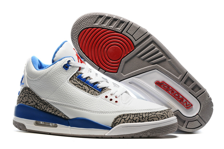 2016 Air Jordan 3 White Cement Blue Red Shoes with Nike Air Logo