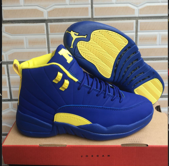 2018 Air Jordan 12 High Blue Yellow Shoes