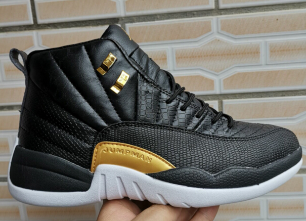 2019 Air Jordan 12 Fish Pattern Black Gold Shoes