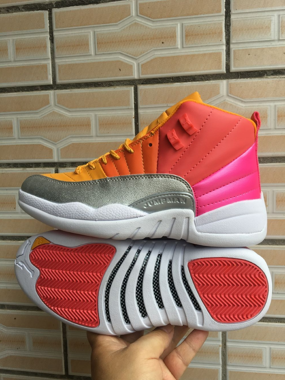 2019 Air Jordan 12 Rainbow Red Yellow Silver White Shoes