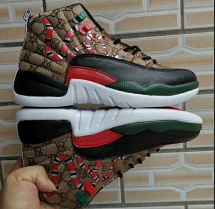 2019 Air Jordan 12 Snake Print Coffe Red Black Green Shoes