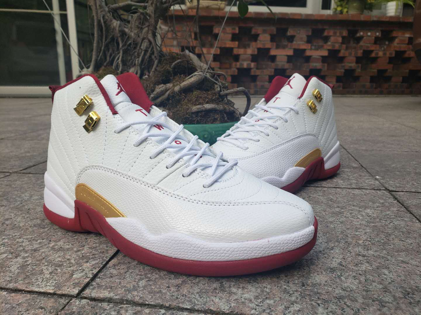 2019 Air Jordan 12 White Wine Red Gold Shoes