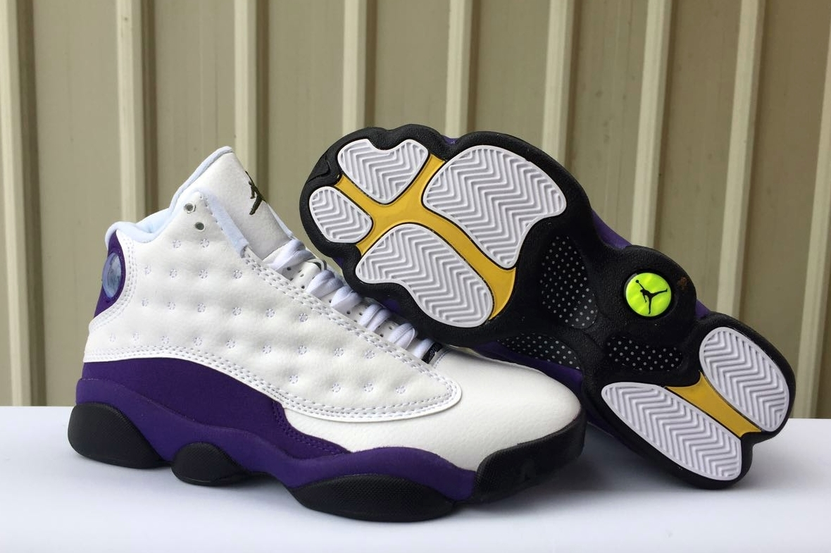 2019 Air Jordan 13 Lakers White Purple Black Yellow Shoes