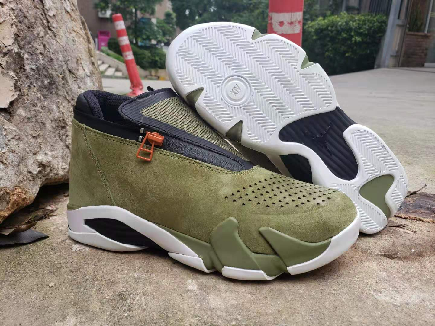 2019 Air Jordan 14 Zipper Army Green Black White Shoes