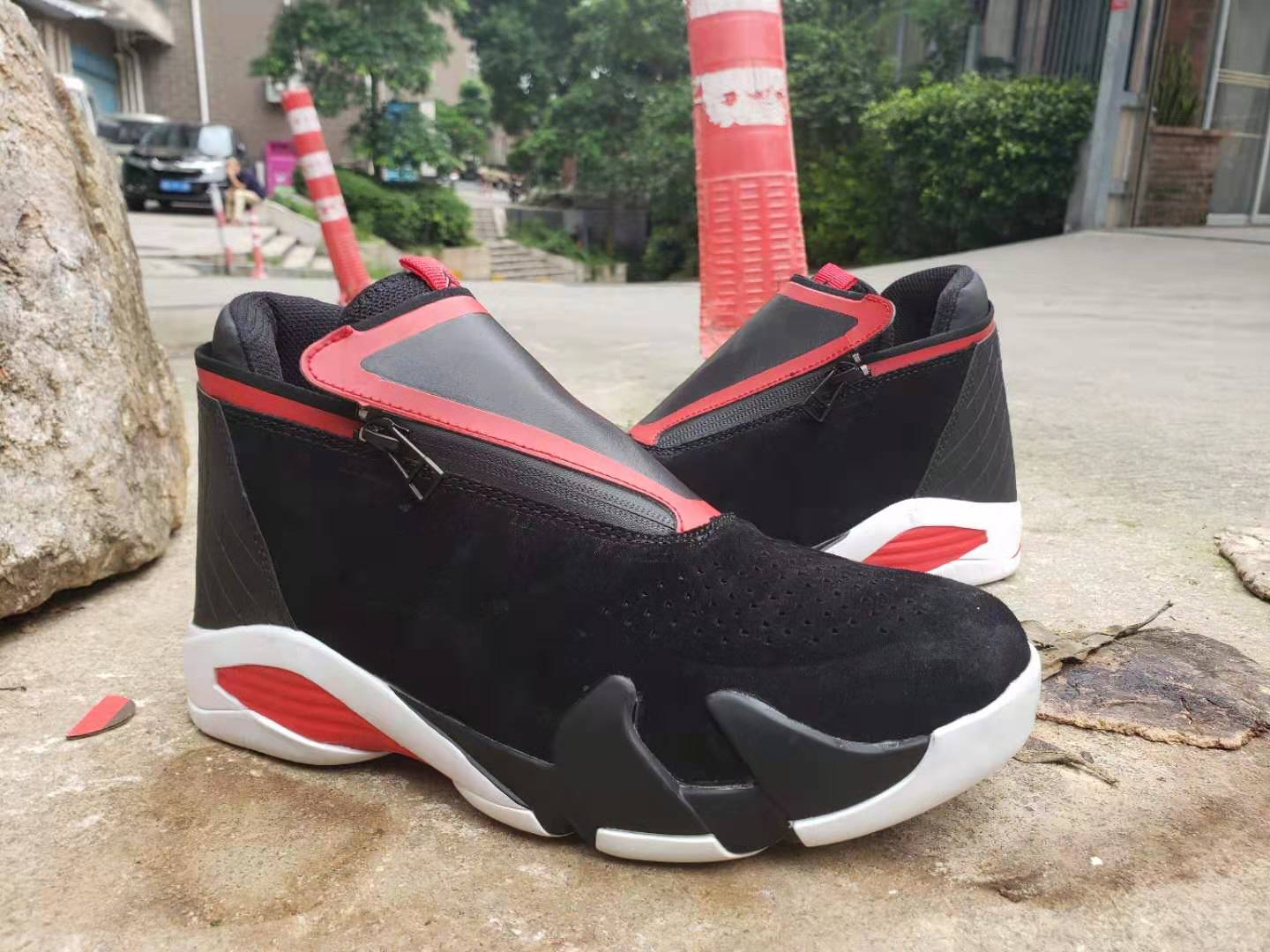 2019 Air Jordan 14 Zipper Black Red White Shoes