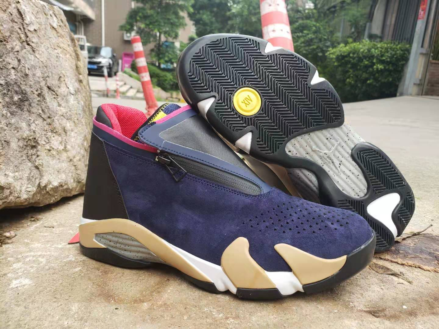 2019 Air Jordan 14 Zipper Sea Blue Brown Black White Shoes