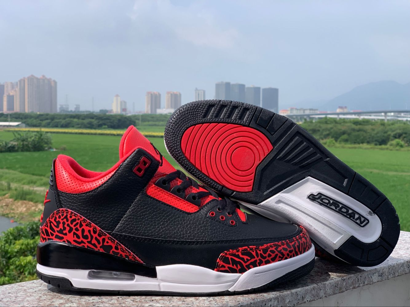 2019 Air Jordan 3 Bred Red Black Shoes