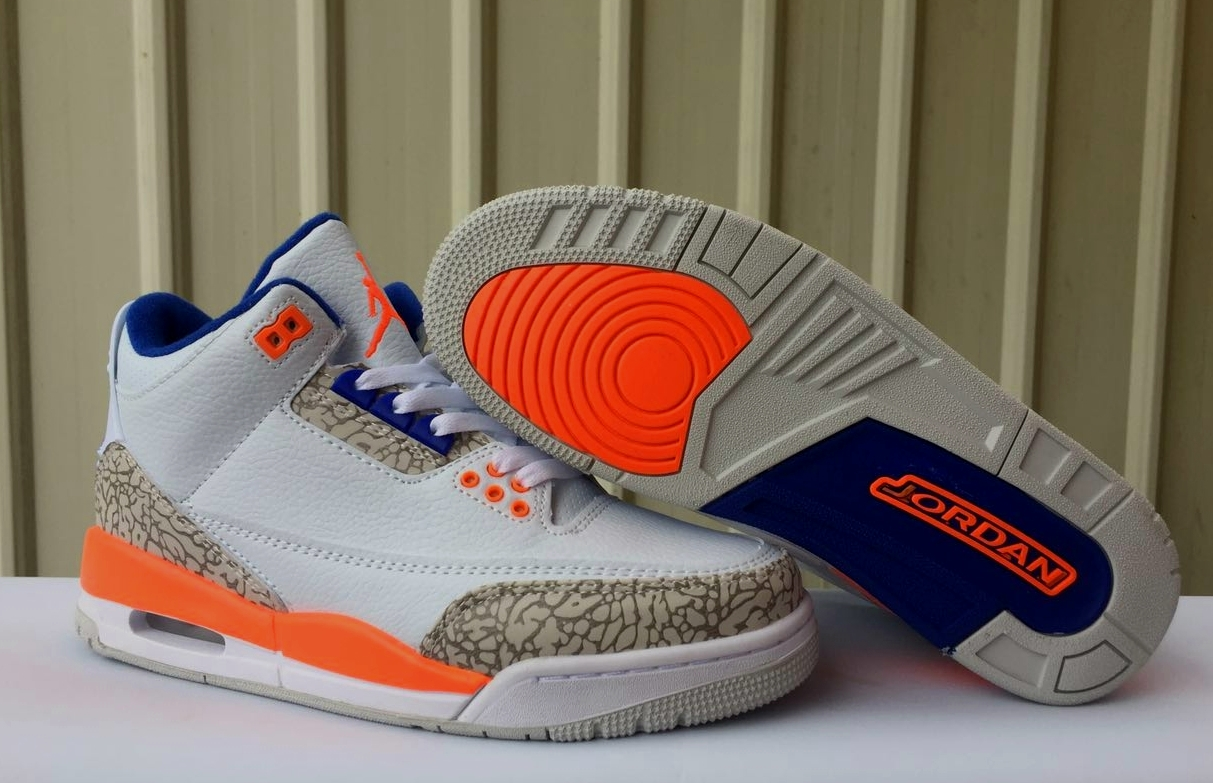 2019 Air Jordan 3 Retro White Orange Blue Shoes