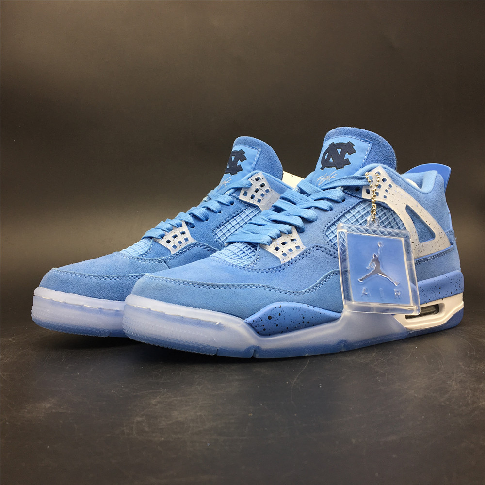 2019 Air Jordan 4 Suede Baby Blue Ice Sole Shoes