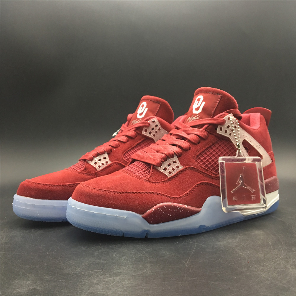 2019 Air Jordan 4 Suede Red Ice Sole Shoes