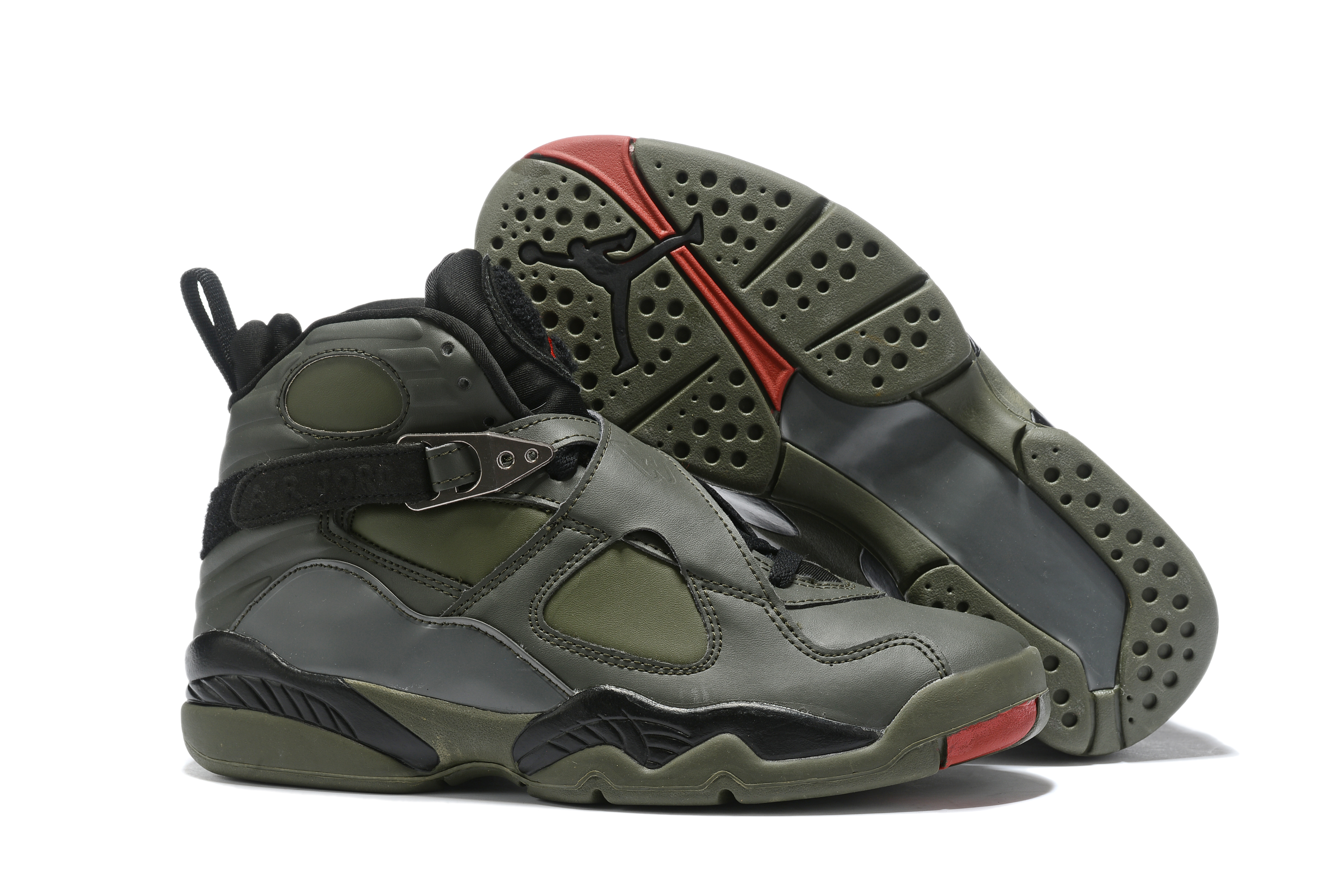 2019 Air Jordan 8 Army Green Carbon Grey Black Red Shoes