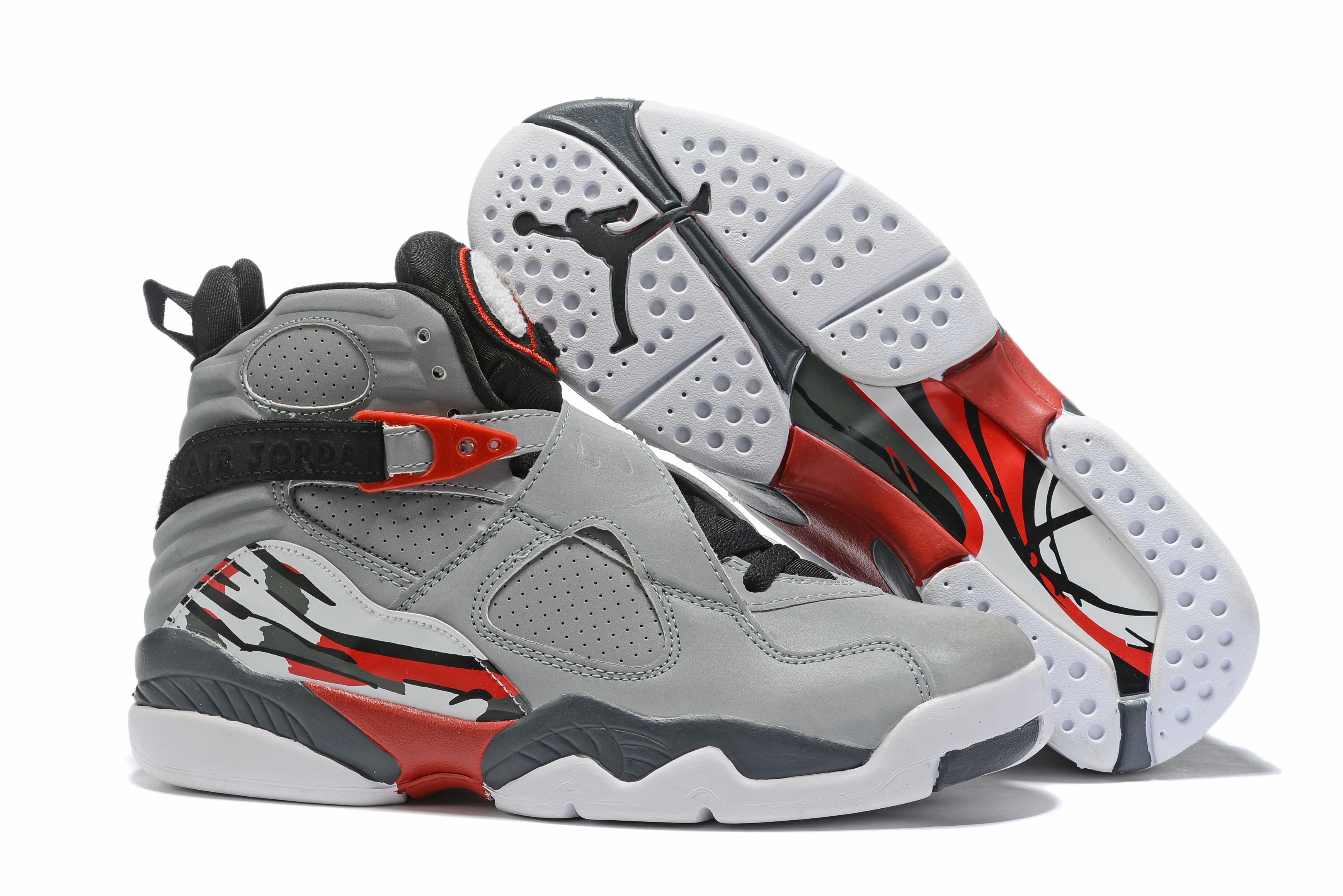 2019 Air Jordan 8 Grey Black Red Shoes