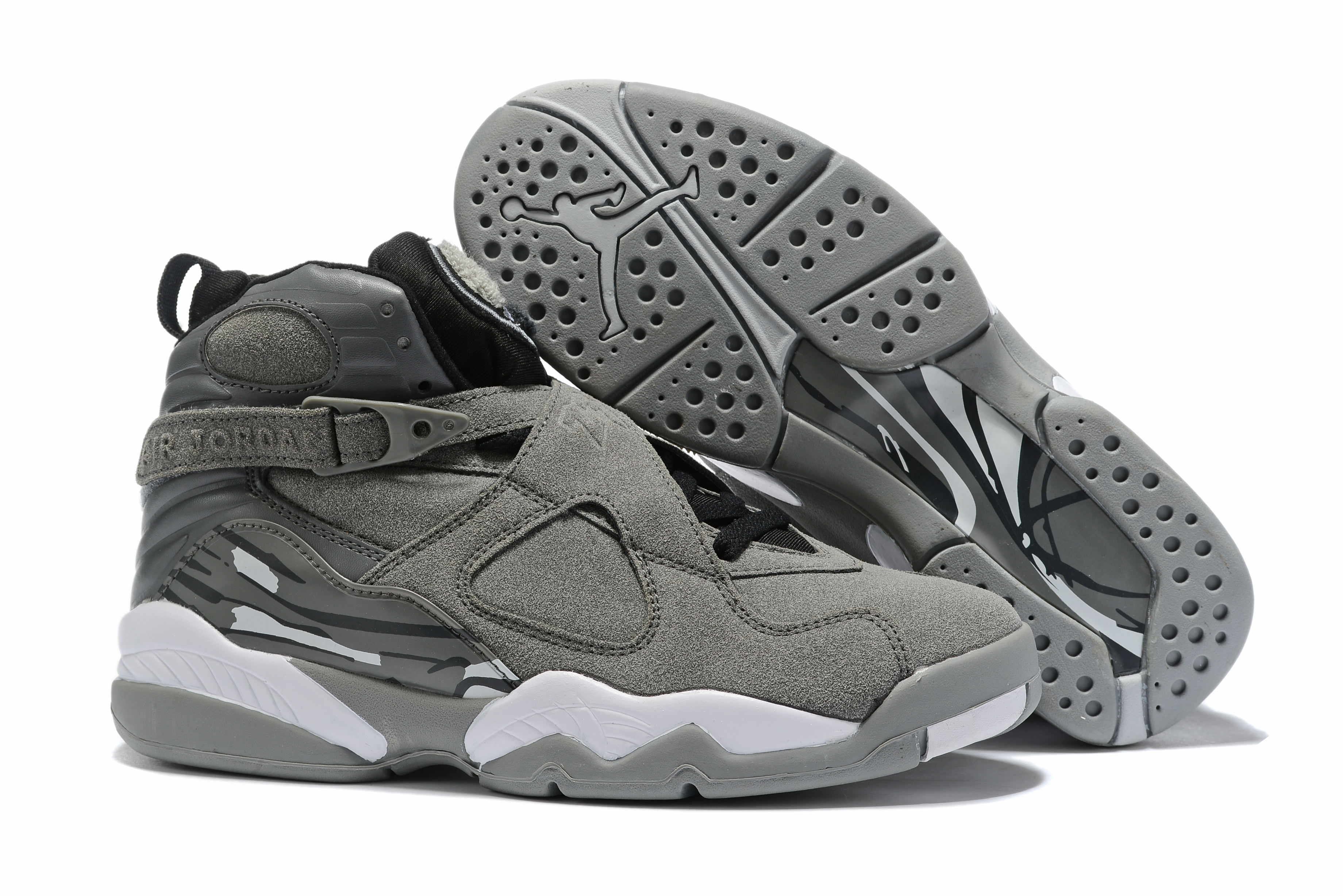 2019 Air Jordan 8 Grey Black White Shoes