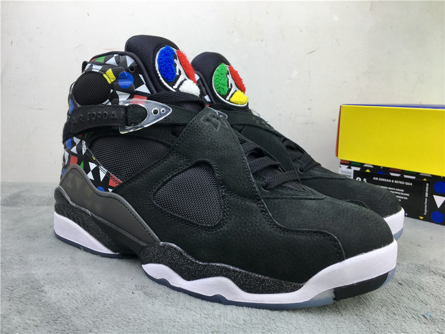 2019 Air Jordan 8 Quai 54 Black Colorful Grey Shoes