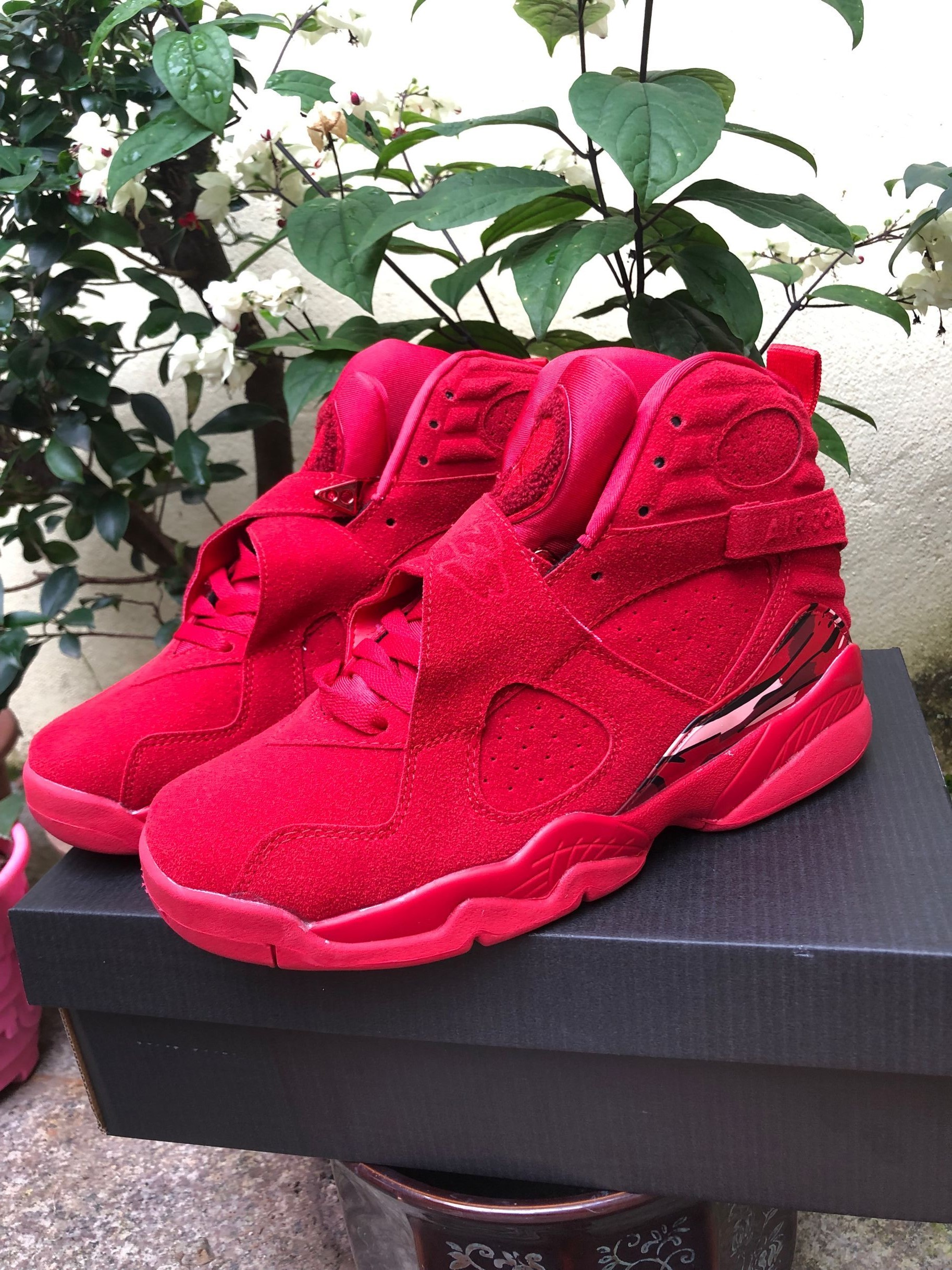 2019 Air Jordan 8 Retro Hot Red Black Shoes