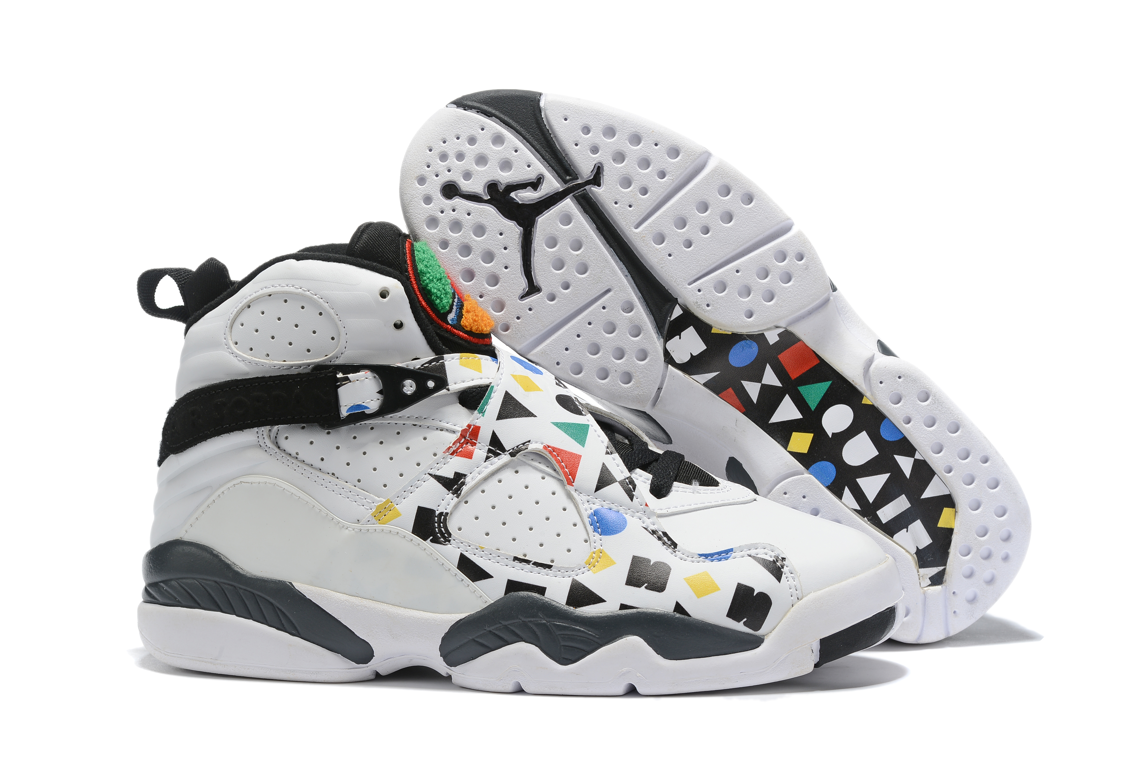 2019 Air Jordan 8 White Colorful Black Shoes