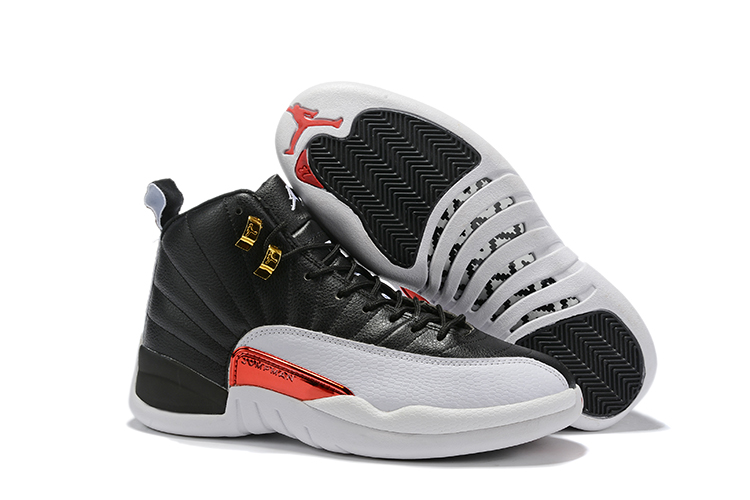 2019 New Air Jordan 12 Retro Black White Red Shoes