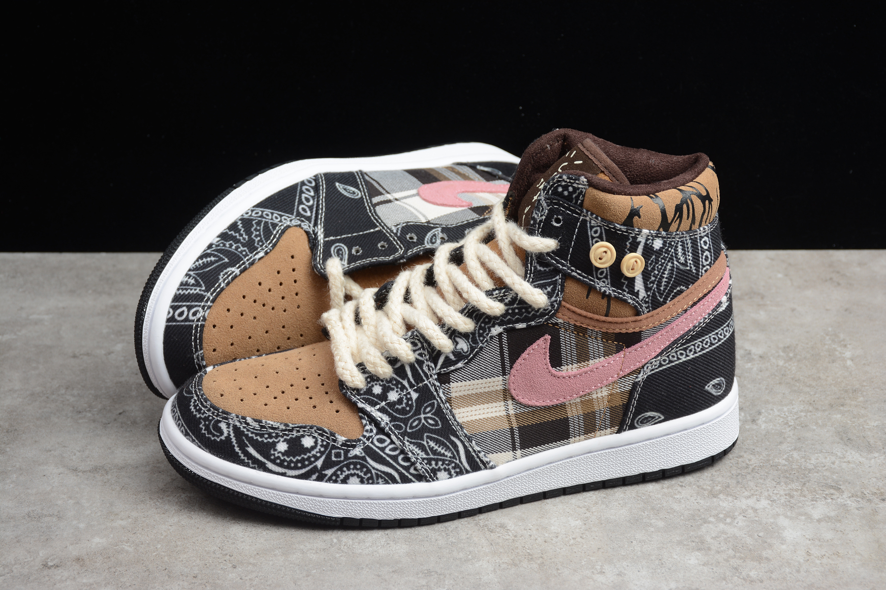 2020 Air Jordan 1 Brown Black White Pink Shoes