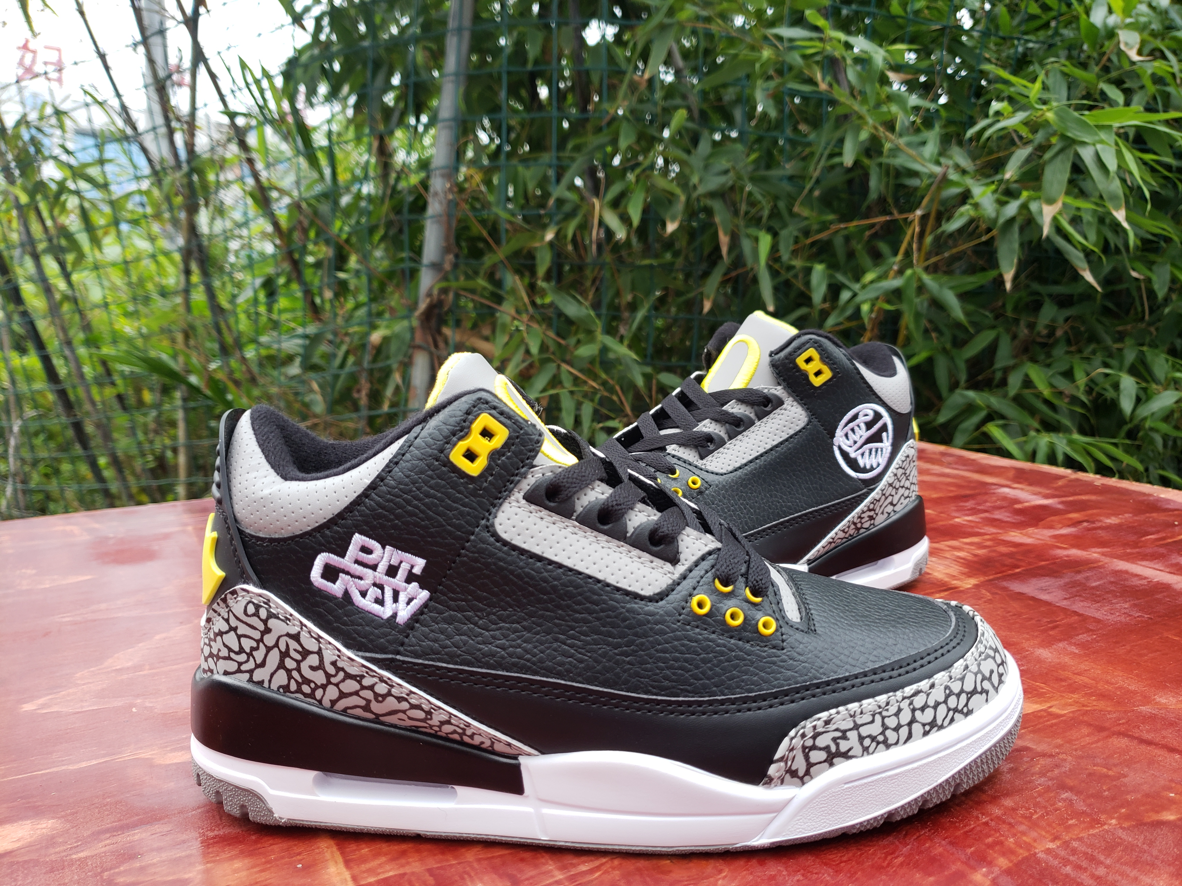 2020 Air Jordan 3 Retro Black Cement Grey Yellow Shoes
