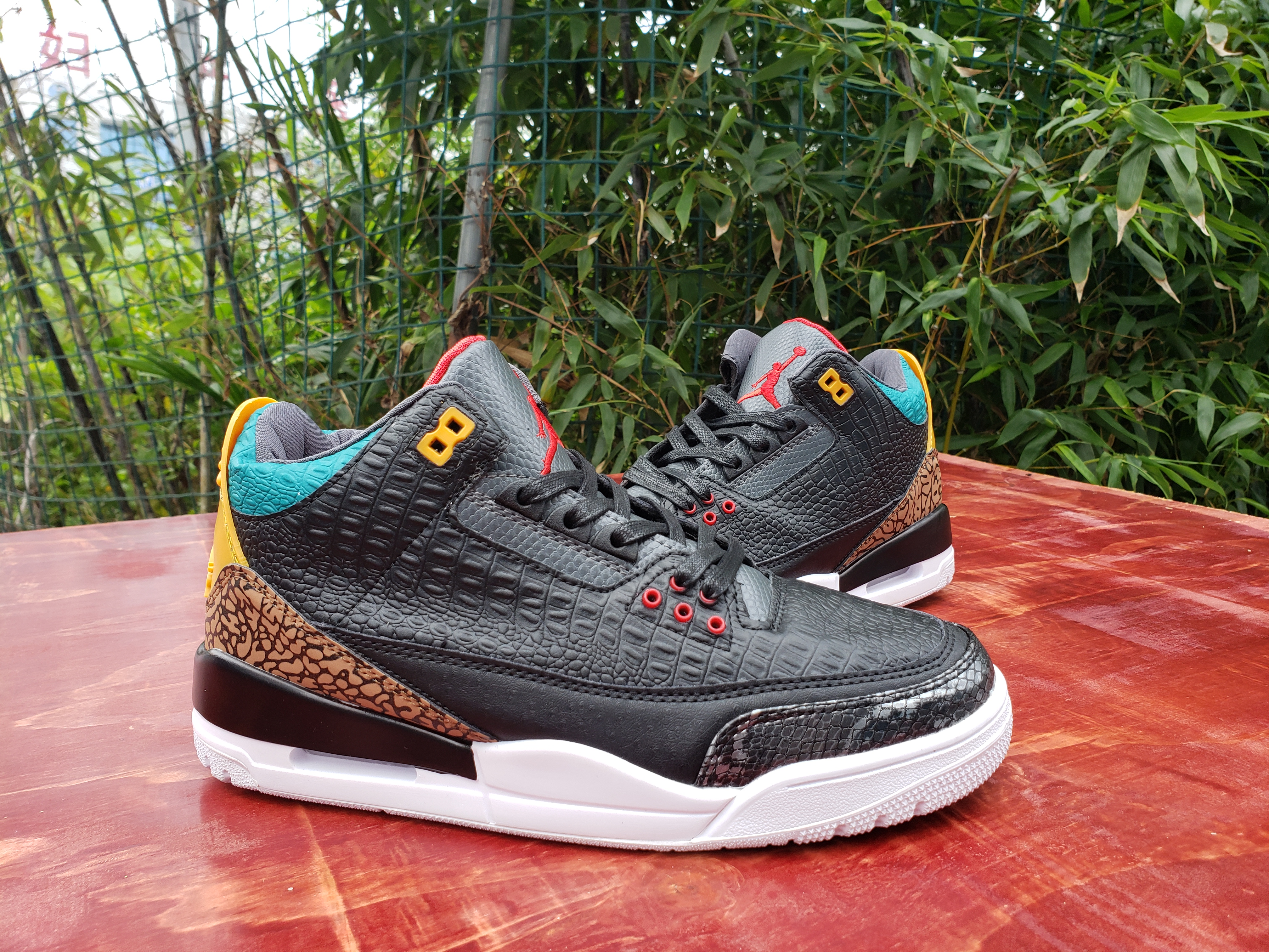 2020 Air Jordan 3 Retro Crocodile Black Red Yellow Blue Shoes