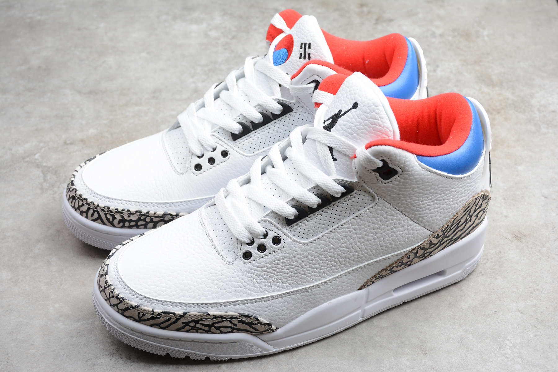 2020 Air Jordan 3 Retro White Blue Orange Shoes