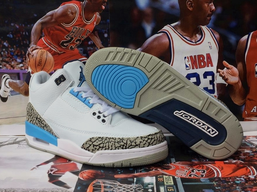 2020 Air Jordan 3 UNC Whhite Bany Blue Shoes