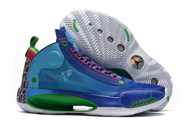 2020 Air Jordan 34 Blue Green Pink Shoes
