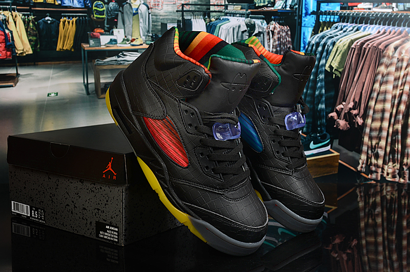2020 Air Jordan 5 Limited Black Yellow Colorful Shoes