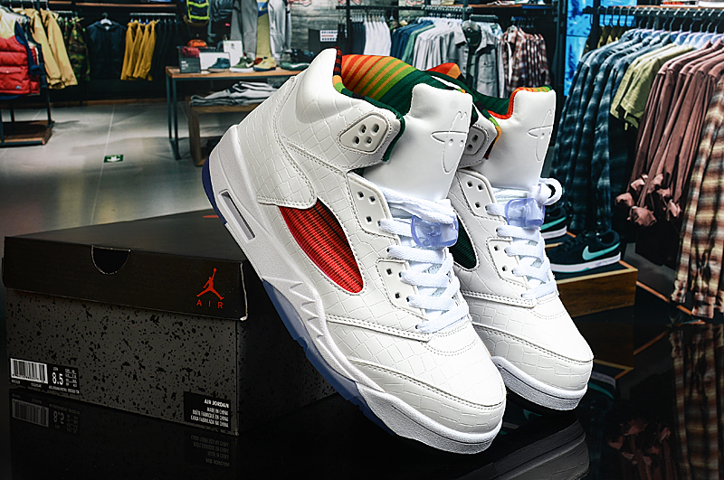 2020 Air Jordan 5 Limited White Colorful Shoes