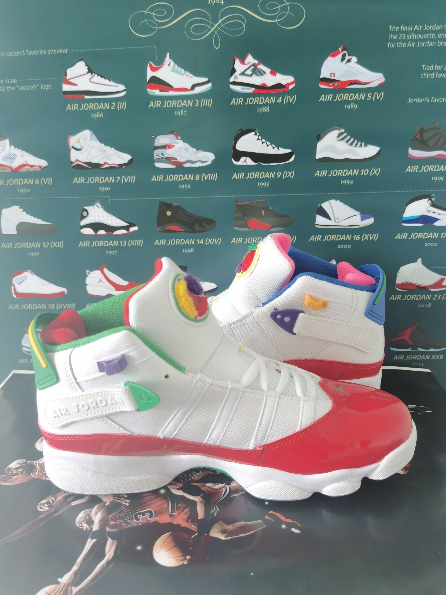 2020 Air Jordan Six Rings Easter Eggs White Red Green Shoes
