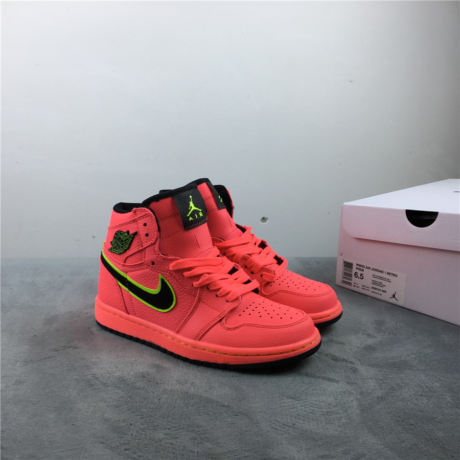 Air Jordan 1 Hot Punch Red Black Green Shoes