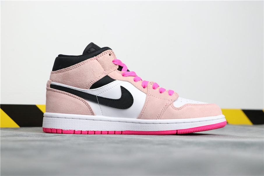 Air Jordan 1 Mid Pink Toe White Black Shoes
